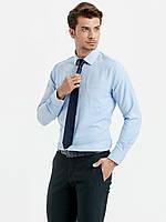 Голубая мужская рубашка LC Waikiki / ЛС Вайкики с мелкую елочку с карманом на груди