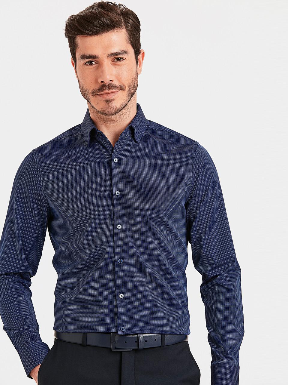 Синяя мужская рубашка LC Waikiki / ЛС Вайкики в тонкий голубой принт
