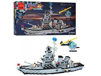 Конструктор Brick 112 Военный корабль 970 деталей - 154933