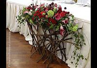 Свадебное оформление. Оформление зала живыми цветами.