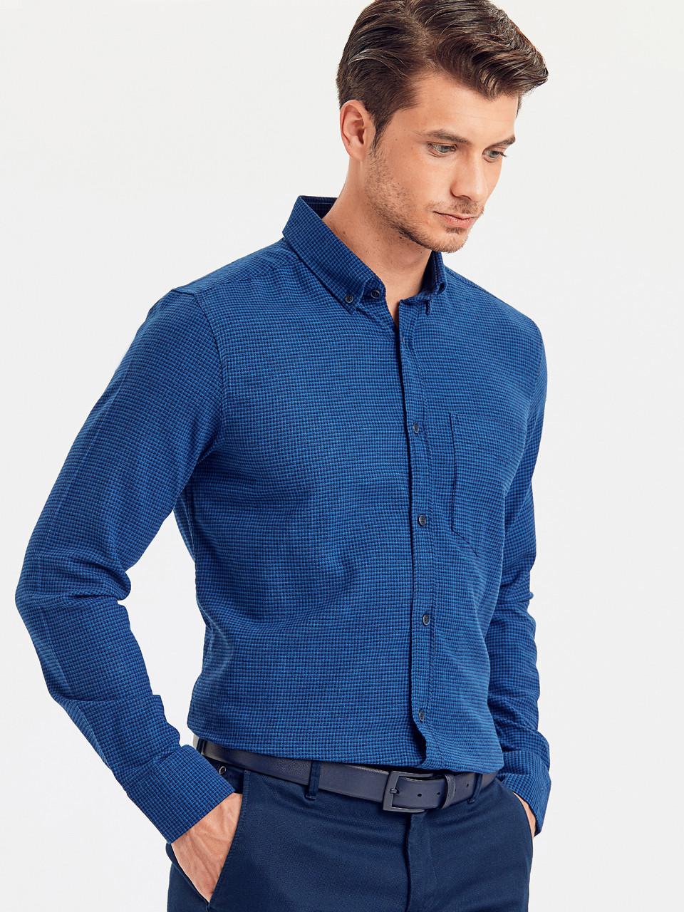 Байковая мужская рубашка LC Waikiki / ЛС Вайкики синяя с карманом на груди, в клетку