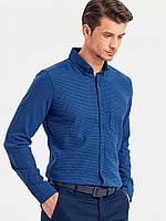 Байковая мужская рубашка LC Waikiki / ЛС Вайкики синяя с карманом на груди, в клетку, фото 1