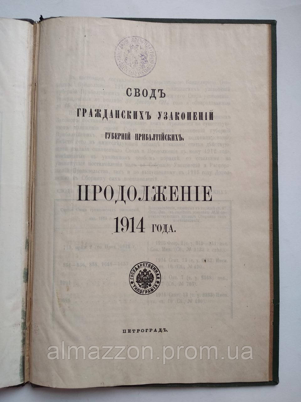 1913 Свод гражданских узаконений губерний Прибалтийских. Продолжение 1914 года. Петроград