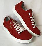 Puma classic ! Стильные кроссовки кеды женские из красной натуральной кожи в стиле пума !, фото 8