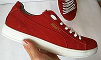 Puma classic! кроссовки кеды женские большого размера из натуральной кожи красного цвета Пума !