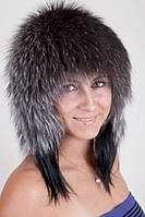 Женская меховая Шапка с ушами  из  чернобурки Kz777