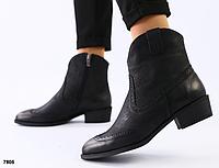 Ботинки женские из черной матовой кожи с затиранием носа и пятки, фото 1