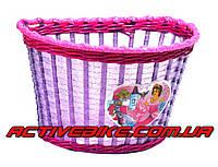 """Корзина для детского велосипеда плетеная """"Принцеса"""", фиолетовая."""