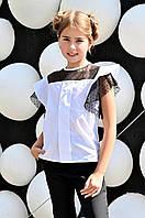 Школьная блуза белая с черным на девочку 32-42, фото 1