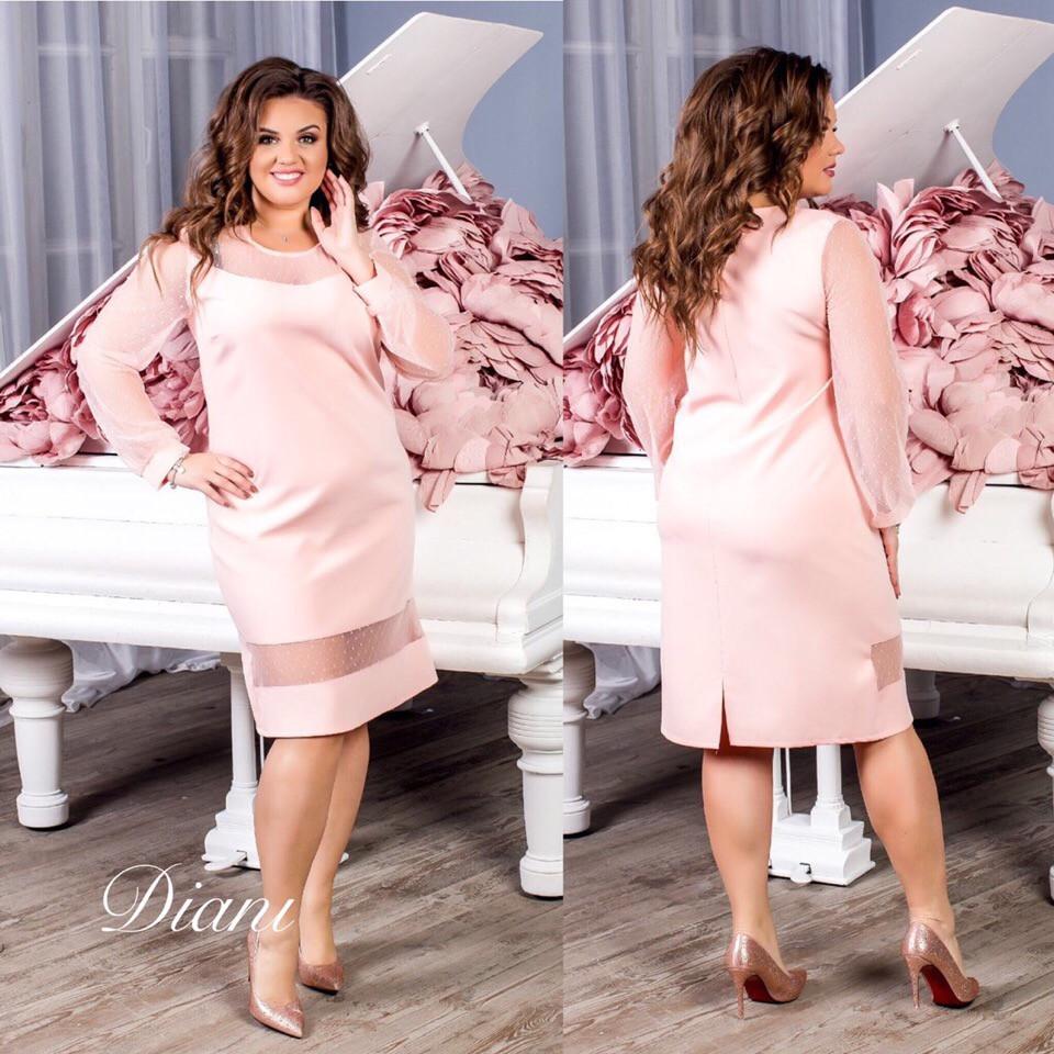 Платье в больших размерах с вставками сетки vN105