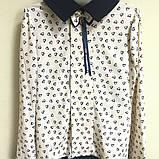 Школьная блуза сердца голубая и беж на девочку 32-38, фото 2