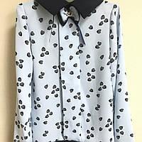 Школьная блуза сердца голубая и беж на девочку 32-38, фото 1