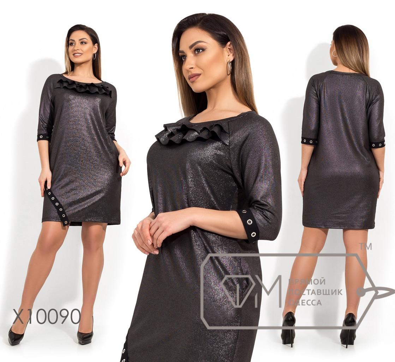 Прямое платье в больших размерах с напылением и декором vN195