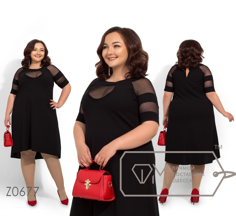 (от 56 до 62 размера) Платье свободное из дайвинга с сеткой в больших размерах vN231