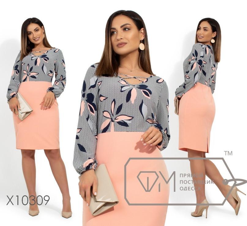 Платье с принтованным верхом и однотонным низом в больших размерах vN237