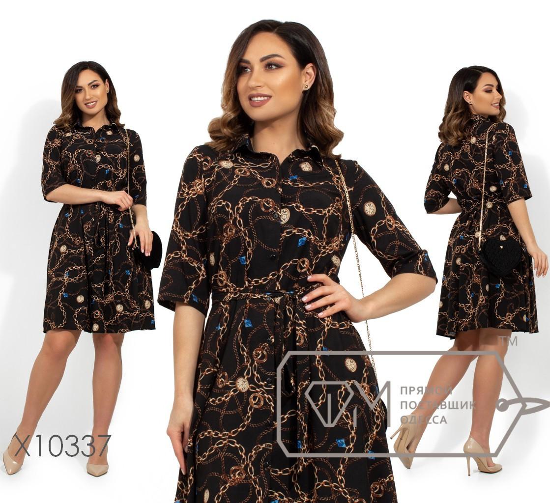 Принтованное летнее платье из софта в больших размерах vN241
