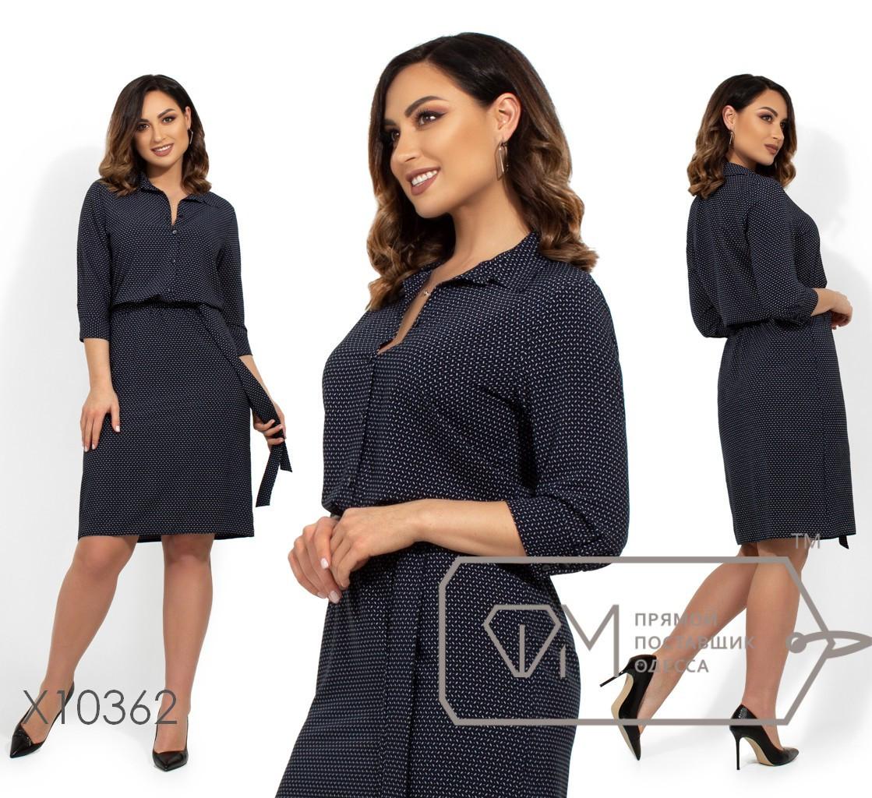 Легкое принтованное платье с завышенной талией в больших размерах vN248