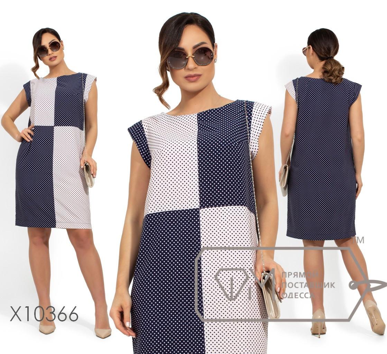Прямое принтованное платье в больших размерах без рукава vN249