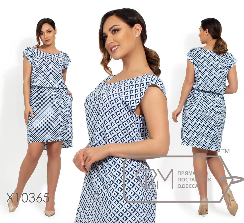 Летнее платье в принт с резинкой на талии в больших размерах vN250