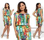 Летнее платье в принт с резинкой на талии в больших размерах vN250, фото 2