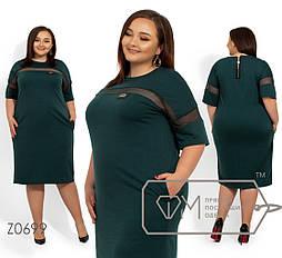 Прямое платье в больших размерах с вставкой сетки vN251
