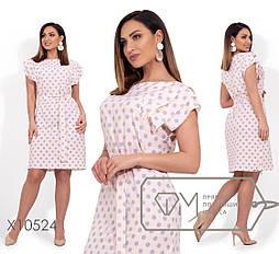 Летнее платье в горошек в больших размерах под пояс vN255