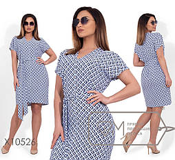 Принтованное летнее платье большого размера с коротким рукавом vN256