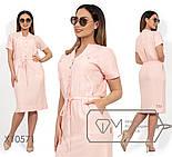 Льняное платье-рубашка миди с кулиской в больших размерах vN267, фото 2