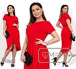 (от 48 до 54 размера) Легкое трикотажное платье в больших размерах с асимметричной юбкой vN280, фото 4