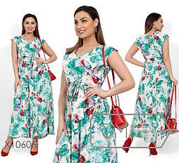 (от 48 до 54 размера) Летнее принтованное платье в пол в больших размерах без рукава vN281