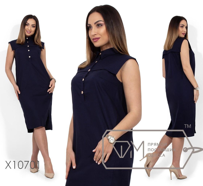 (от 48 до 54 размера) Прямое летнее платье в больших размерах с цветочным принтом vN329