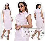 (от 48 до 54 размера) Прямое летнее платье в больших размерах с цветочным принтом vN329, фото 3