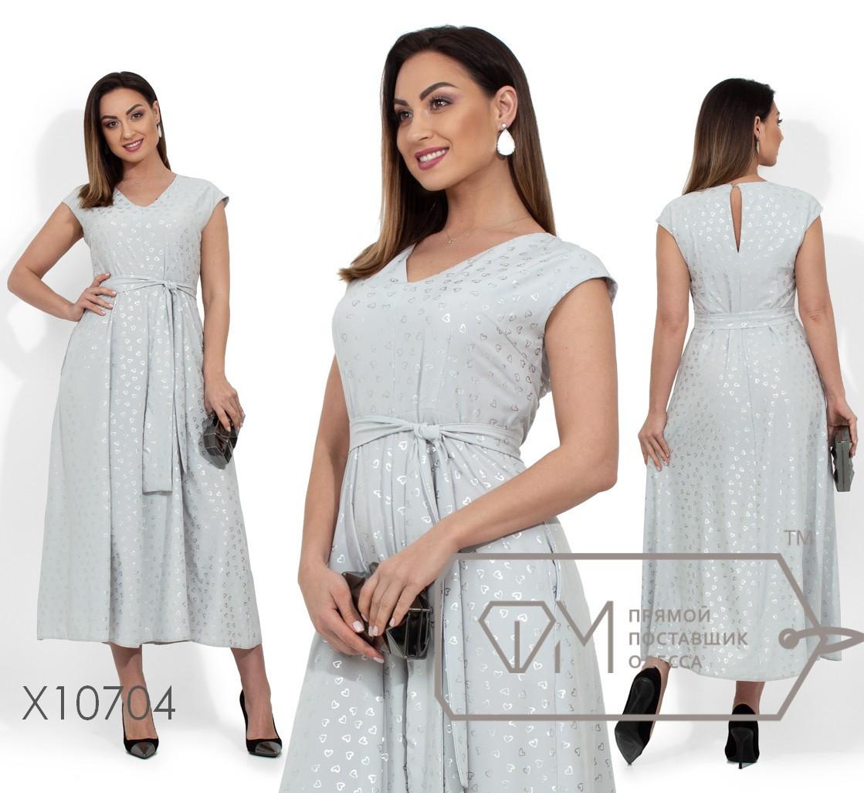 (от 48 до 54 размера) Летнее платье батал с напылением и пышной юбкой vN330