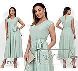 (от 48 до 54 размера) Летнее платье батал с напылением и пышной юбкой vN330, фото 3