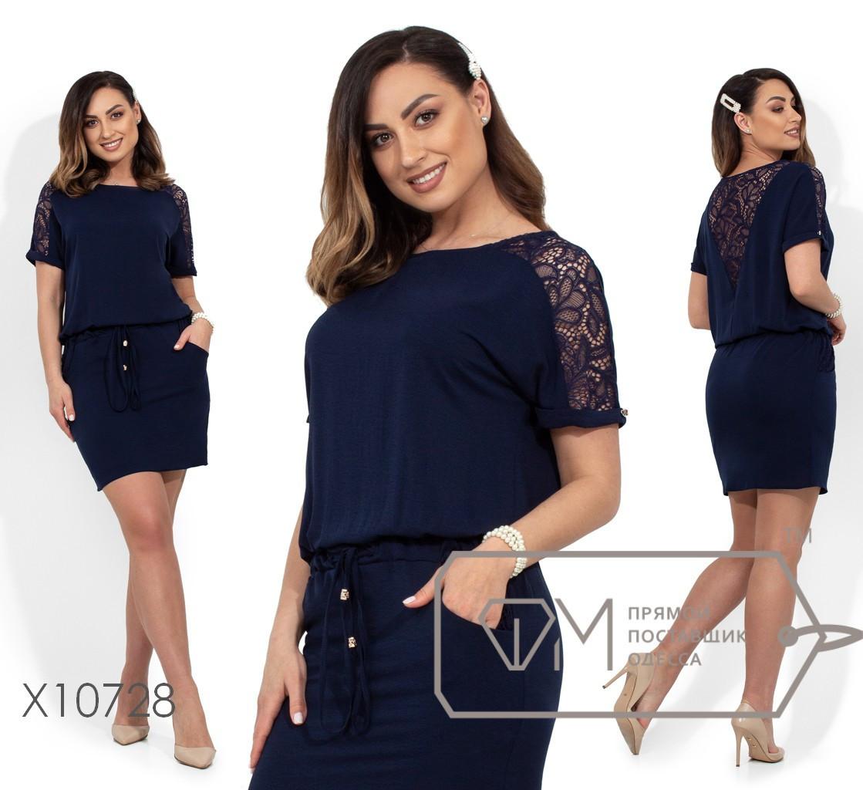 (от 50 до 56 размера) Летнее джинсовое платье в больших размерах с кулиской и кружевом vN337