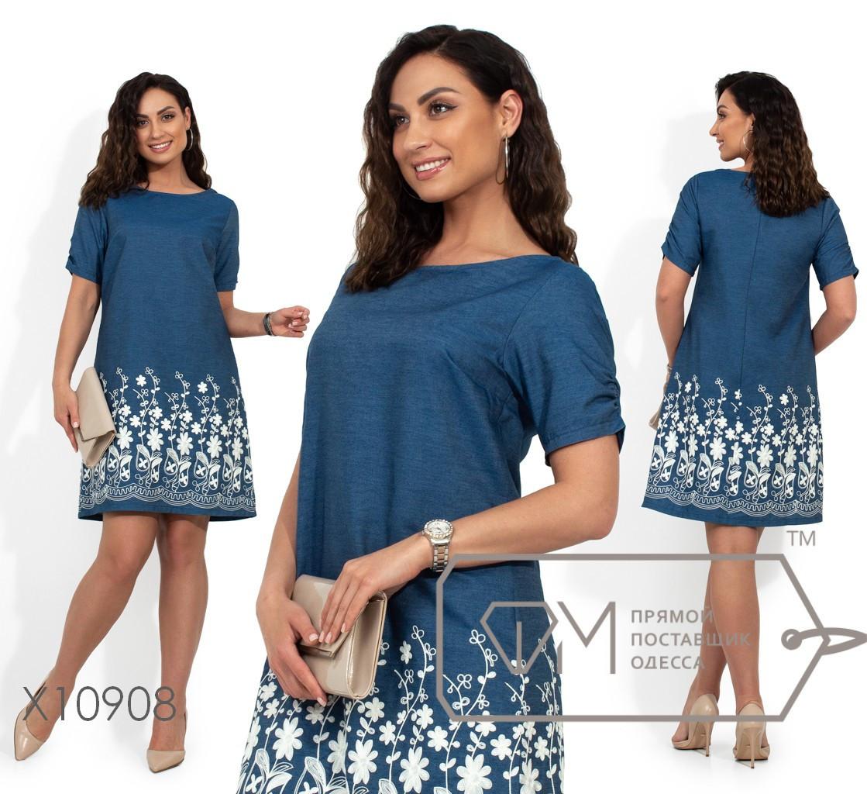 Прямое джинсовое платье с вышивкой в больших размерах vN370