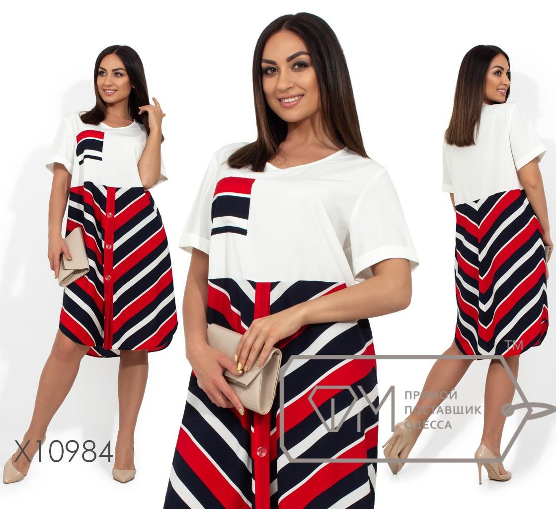 Свободное летнее платье в больших размерах с принтом и коротким рукавом vN381