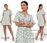 Коттоновое свободное платье в больших размерах с открытыми плечами vN388, фото 3