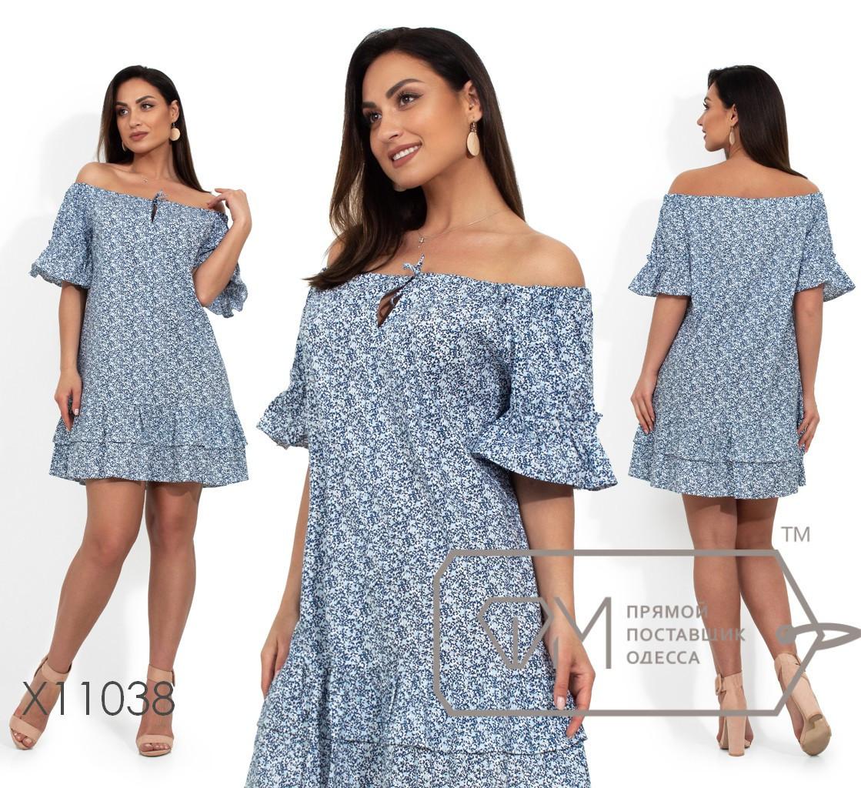 Коттоновое свободное платье в больших размерах с открытыми плечами vN388