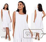 Льняное свободное платье в больших размерах без рукава с оборкой vN405, фото 3