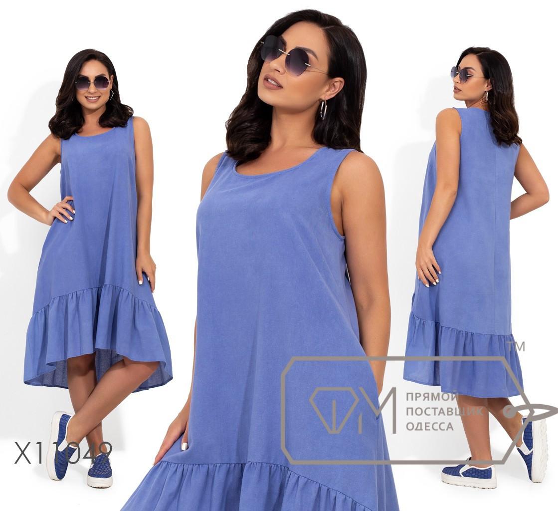 Льняное свободное платье в больших размерах без рукава с оборкой vN405