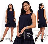 Льняное прямое платье в больших размерах без рукава выше колена vN406, фото 4