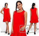 Льняное прямое платье в больших размерах без рукава выше колена vN406, фото 3