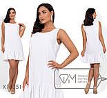 Льняное прямое платье в больших размерах без рукава выше колена vN406, фото 2