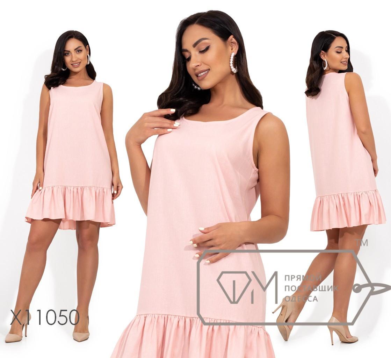 Льняное прямое платье в больших размерах без рукава выше колена vN406