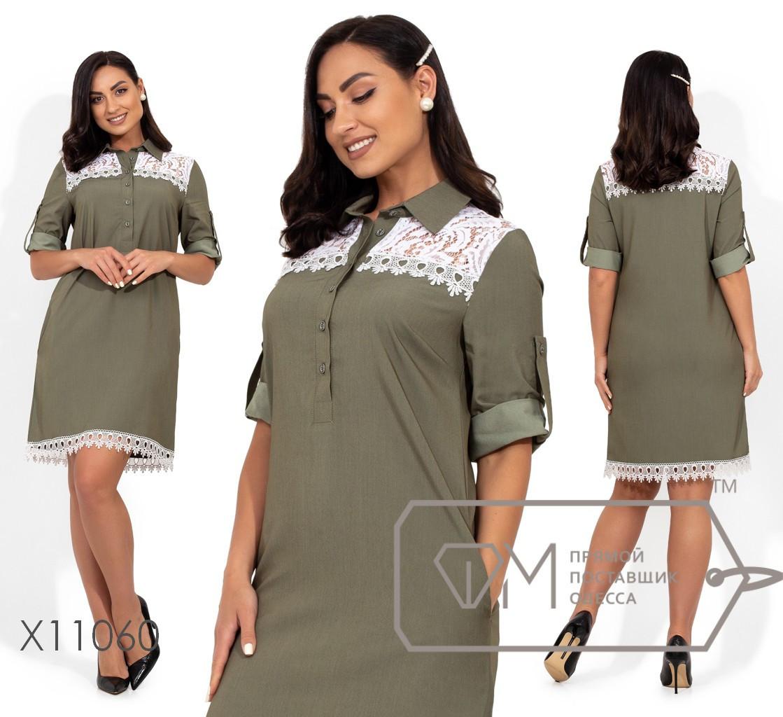 Джинсовое платье - рубашка в больших размерах с кружевом и поясом vN409