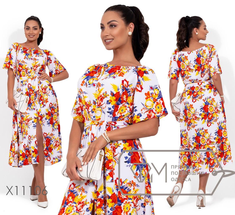 (от 48 до 54 р) Принтованное льняное платье в больших размерах с пышной юбкой и коротким рукавом vN422