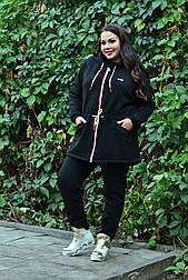 Женская теплая кофта худи из трехнитки в больших размерах vN574