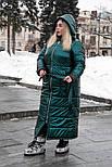 Длинное плащевое пальто в больших размерах с капюшоном vN602, фото 3
