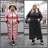 Длинное плащевое пальто в больших размерах с капюшоном vN602, фото 7